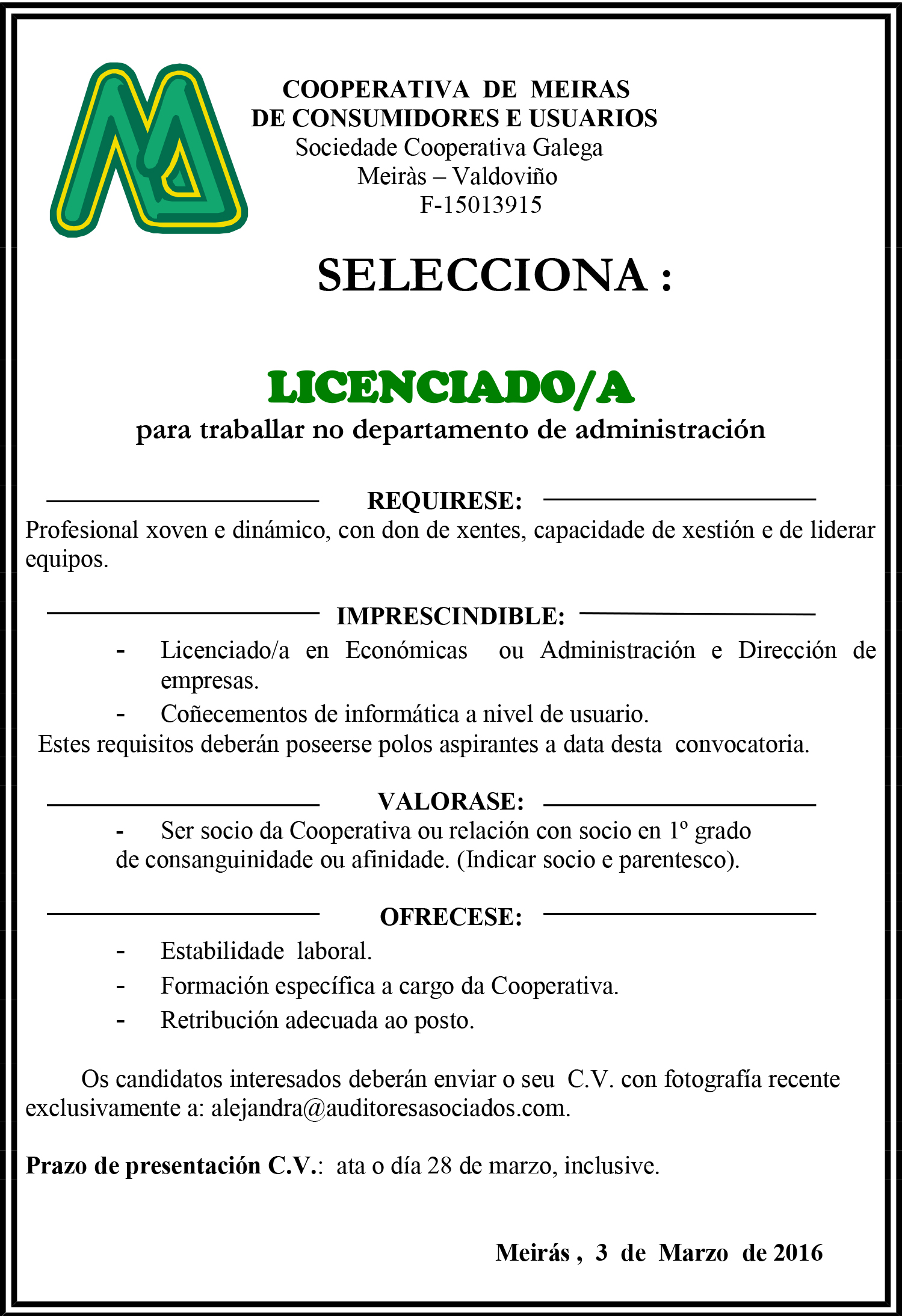 Oferta de emprego para vacante en Administración